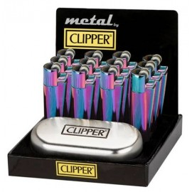 Clipper Metal Icy Colours Flint Lighter Smokers